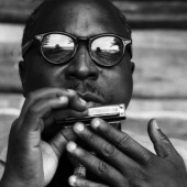 Portrait of Sonny Terry, at Pete Seeger\'s home in Beacon, New York, 1958