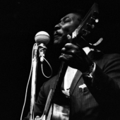 Muddy Waters performs at the Newport Folk Festival in July 1964
