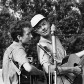Bob Dylan and Pete Seeger at the Newport Folk Festival in July 1963