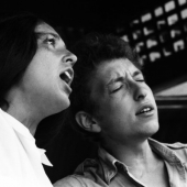 Joan Baez and Bob Dylan at the Newport Folk Festival in July 1963