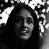 Portrait of Joan Baez at the Newport Folk Festival in July 1964