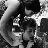 Portrait of Joan Baez and Bob Dylan in Woodstock, New York in July 1963