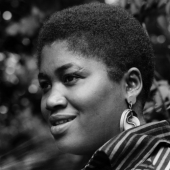 Portrait of Odetta at the Newport Folk Festival in July 1959