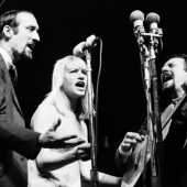 Peter, Paul and Mary perform at the Newport Folk Festival in July 1963