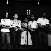 We Shall Overcome: An encore ensemble at the Newport Folk Festival in July 1963;Peter Yarrow, Mary Travers, Paul Stookey, Joan Baez, Bob Dylan, Bernice Reagon, Cordell Reagon,Charles Neblett, Rutha Harris, Pete Seeger
