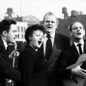 The Weavers in 1958: Eric Darling, Ronnie Gilbert, Lee Hays, and Fred Hellerman