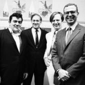 New York Magazine Party: Jimmy Breslin, Clay Felker, Tom Wolfe, George Hirsch, New York City, November 1966